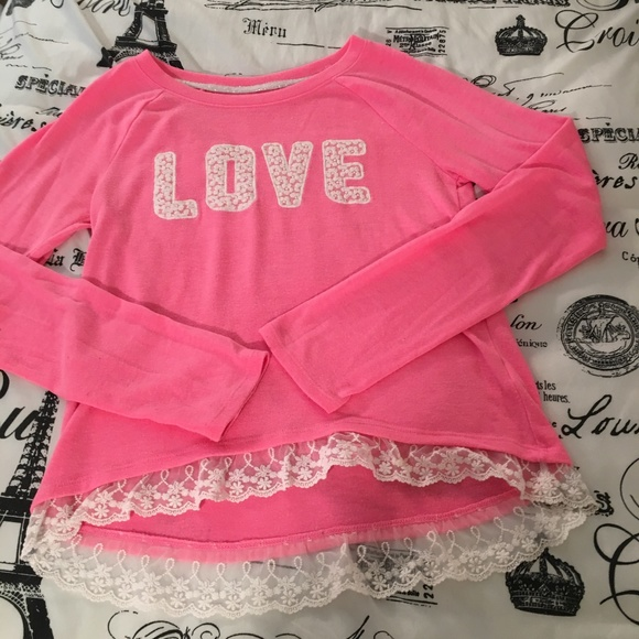 SO Other - Girls Pink LOVE Lace Trim Sweatshirt